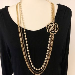 Jewelry - 3-Chain Layered Necklace with Rose pendant